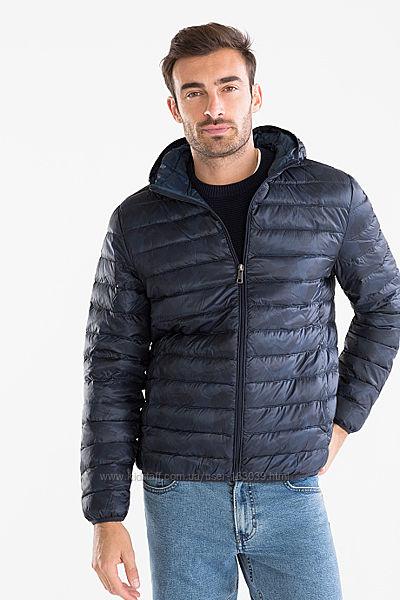 Темно-синяя немецкая пуховая демисезонная куртка с капюшоном с C&A, р-р S