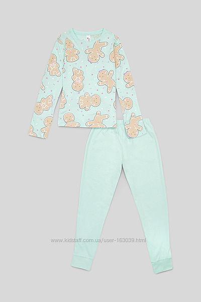 Мятная хлопковая пижама для девочек с сайта C&A, р-ры от 134 до 176