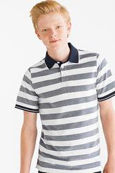 Полосатое хлопковое поло для подростков с сайта C&A, р-р 134-140
