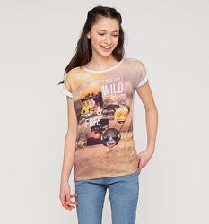 Классная футболочка со смайлами б-у в идеальном состоянии для девочки 8-11