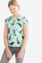 Котики - любимый рисунок на футболке с немецкого сайта C&A, р-р 146-152