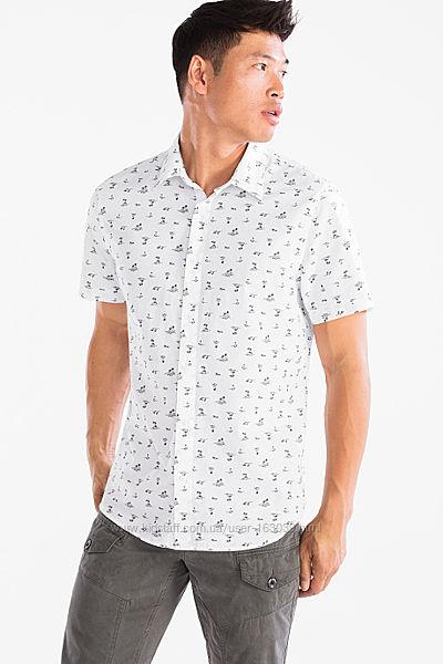 Хлопковая летняя рубашка с пальмами из Германии с C&A, р-ры XL, 2XL