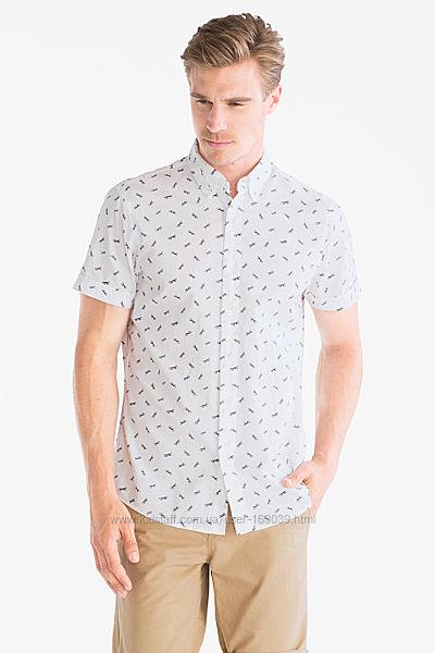 Летняя белая рубашка с очками из Германии с сайта C&A, р-ры 52, 54
