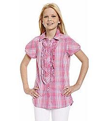 Легкая коттоновая рубашка в клеточку для девочки с C&A, р-р 158-164
