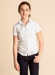 Легкая белая рубашка в школу на сентябрь, май, Германия, р-ры 134, 140, 152
