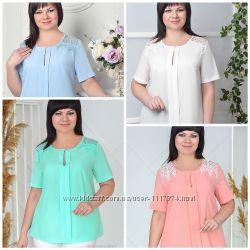 Женская блуза, вискоза софт и кружево, 52-62р