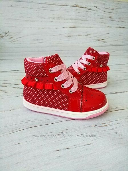 Акция 22р, 14 см Ботинки для девочек Clibee Польша , P159 red