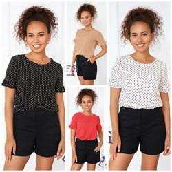 Блуза в горошек с коротким рукавом, 42,44,46,48р, софт, Ненси