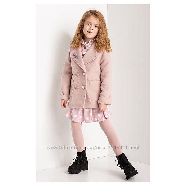Нежное пальто на 6-10 лет кайса прямого силуэта для юных модниц тм сьюзи