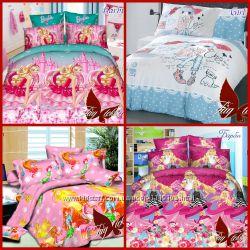 полуторная постель для девочки, комплект постельного белья, ранфорс