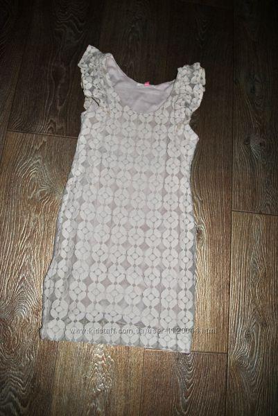 Платье бежевое пастельное ажурное гипюровое красивое нарядное 10 лет