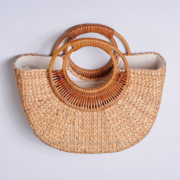 Полукруглая женская плетеная сумочка из ротанга с Бали, бежевый цвет