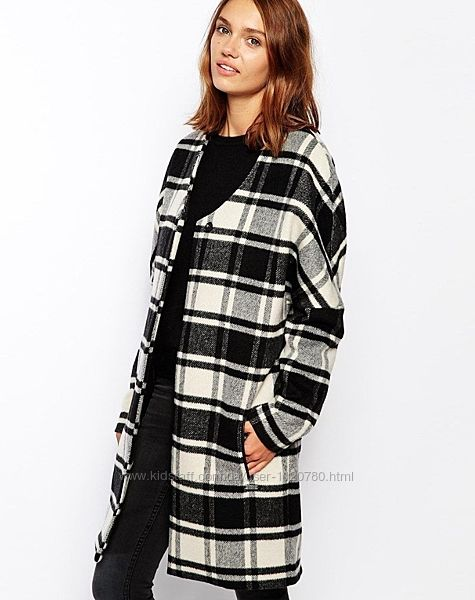 шерстяное пальто в клетку Maison Scotch размер S