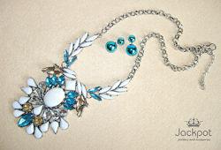 Шикарне біле голубе кольє сережки набір прикрас в стилі ZARA