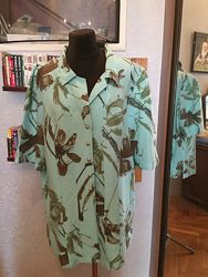 Натуральная, дизайнерская рубашка Гавайи, бренда Elena Grunert, р. 54-58.