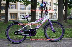 Детский двухколесный велосипед для мальчика и девочки Azimut Fiber 20