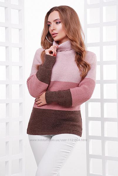 Теплый вязаный свитер с высоким воротником трехцветный