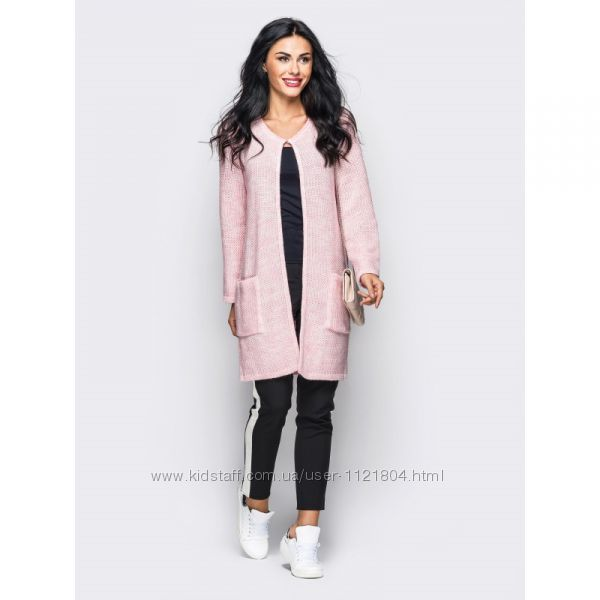 кардиган вязаный с длинными рукавами и карманами розовый