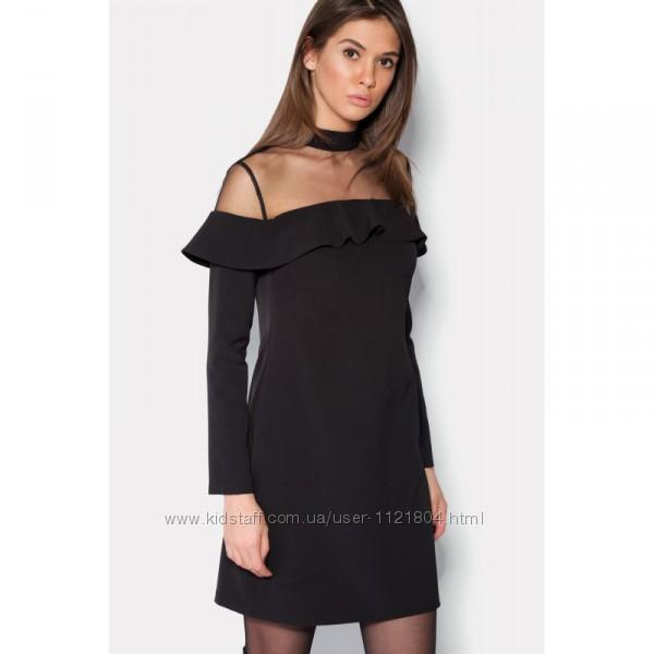 Черное платье с соблазнительной кокеткой из мелкой сеточки
