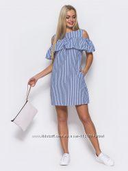 Платье с вырезами на плечах и удобными карманами по бокам   лето