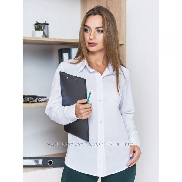 блузка классического кроя с длинным рукавом и отложным воротником белая
