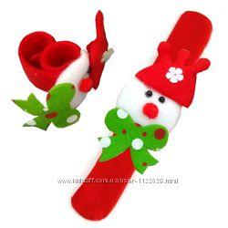 Мягкий новогодний браслет с фигуркой снеговика для детей и взрослых