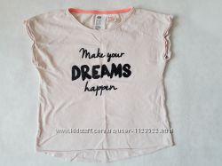 Нежная, пудровая футболка, топ на девочку H&M