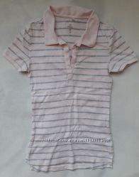 Нежно - розовая футболка - поло в полосочку C&A