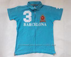 Голубая футболка - поло Барселона на мальчика