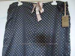 Брюки пижамные атласные черные в горошек Dunnes Stores 14-16