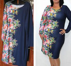 Платье рисунок купон  , размер 52 укр, сукня