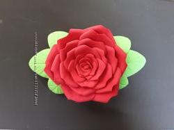 Заколка ручная работа Красная роза  из фоамирана