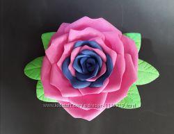 Заколка ручная работа сине-розовая роза из фоамирана