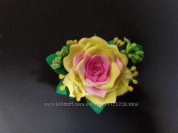 Заколка ручная работа, цветок, роза из фоамирана