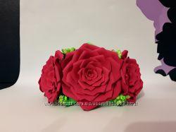 Ободок обруч венок красные розы ручная работа