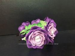 Ободок обруч вінок ручная работа фиолетовые розы цветы.