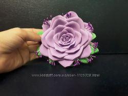 Заколка для волос белая роза ручная работа