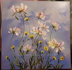 Авторская картина живопись масляными красками на холсте Ромашки