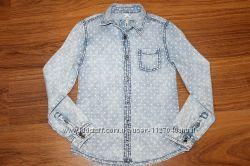 Стильная джинсовая рубашка для модниц. Размер 9-10