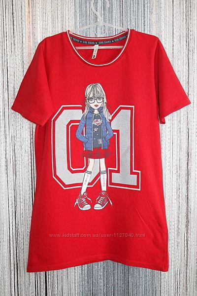 Яркая, красная футболка с красивым принтом. Размер 11-12