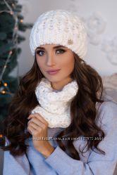 Комплект женский шапка и шарф-хомут белый
