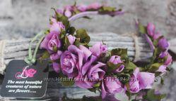 Ободок с шелковыми розами Ягодный