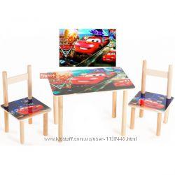 Набор стол и стульчики детский от 2 лет Лунтик Маша и Медведь Тачки