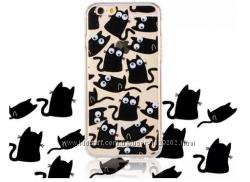 Силиконовый чехол Коты с бегающими глазами для Iphone 5 5S