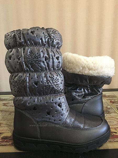 Качественные зимние дутики Lilin Shoes на девочку 34-38 размеры в наличии