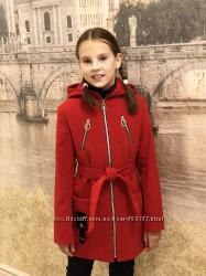 Стильное молодежное  пальто из кашемира красный, темно-серый, серый