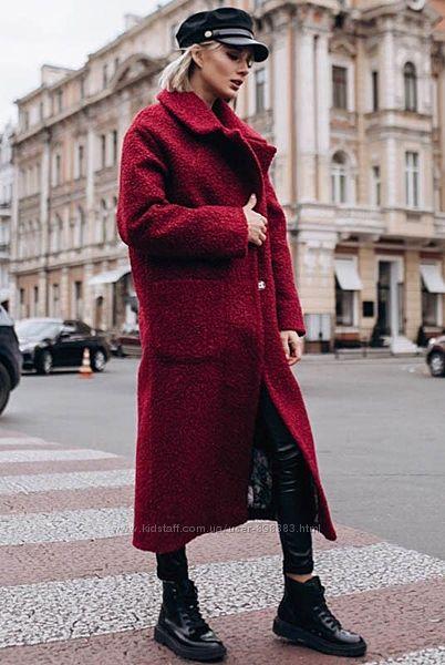 Молодежные теплые женские пальто на холлофайбере  беж, марсала, синий, черн