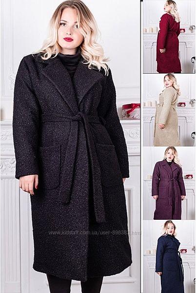 Батальные женские пальто от производителя Утепленное прямое пальто