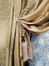 Бежевые шторы. Шторы с розами. Шторы для зала, спальни, детской. Турция