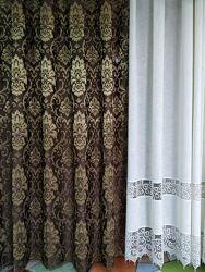 Красивые шоколадные шторы. Шторы для зала, спальни, кухни. Турецкие шторы